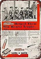 メタルティンサイン装飾鉄の絵1934西洋.22スーパーマッチカートリッジ-ヴィンテージマンケイブガレージサインバーサインメタルウォールティンサインウォールアートシンボルポインターデカールメタルサイン
