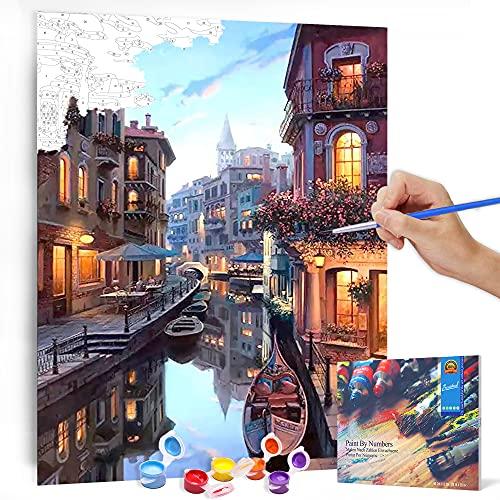 Bougimal Malen Nach Zahlen Erwachsene Landschaft ohne Rahmen inklusive Pinsel und Acrylfarben - 40 x 50 cm, Venedig