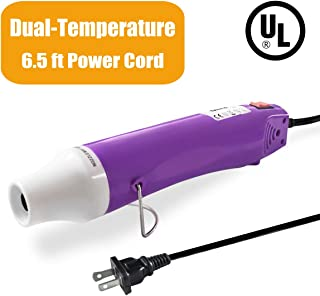 Mlife Mini Heat Gun - 300 Watt - Dual-Temperature Heat Tool for DIY Acrylic Resin Cups Tumblers Embossing Shrink Wrapping Paint Drying Crafts Electronics (Purple)