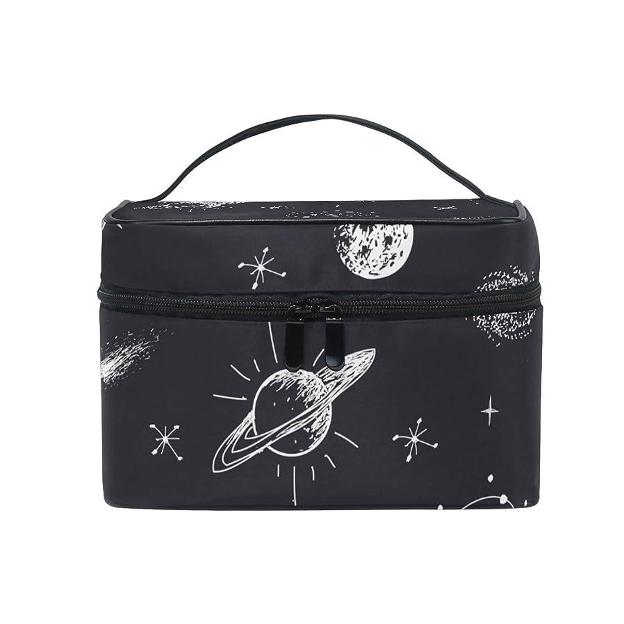 ベース反発する自伝ALAZA 化粧ポーチ 宇宙柄 星空柄 化粧 メイクボックス 収納用品 ブラック 大きめ かわいい