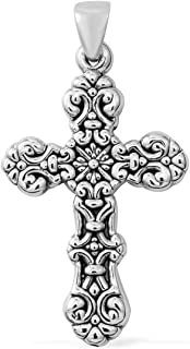 925 Sterling Silver Cross Pendant Necklace for Women Jewelry Gift 5.6 g