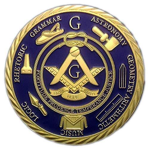 AtSKnSK 1 OZ Masonic Coins Gold Plated Freemason Challenge Coin