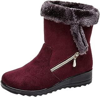 Women Solid Flat Bottom Snow Boots Ankle ❀ Ladies Winter Short Bootie Zipper Footwear Warm Shoes