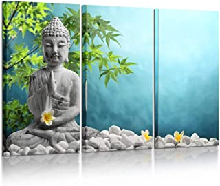 Kreative Arts Large 3 Pieces Buddha in Meditation Artwork Canvas Prints Buddhist Statue in Zen Garden Pictures Paintings on Canvas Wall Art for Office and Home Decor 16x32inchx3pcs