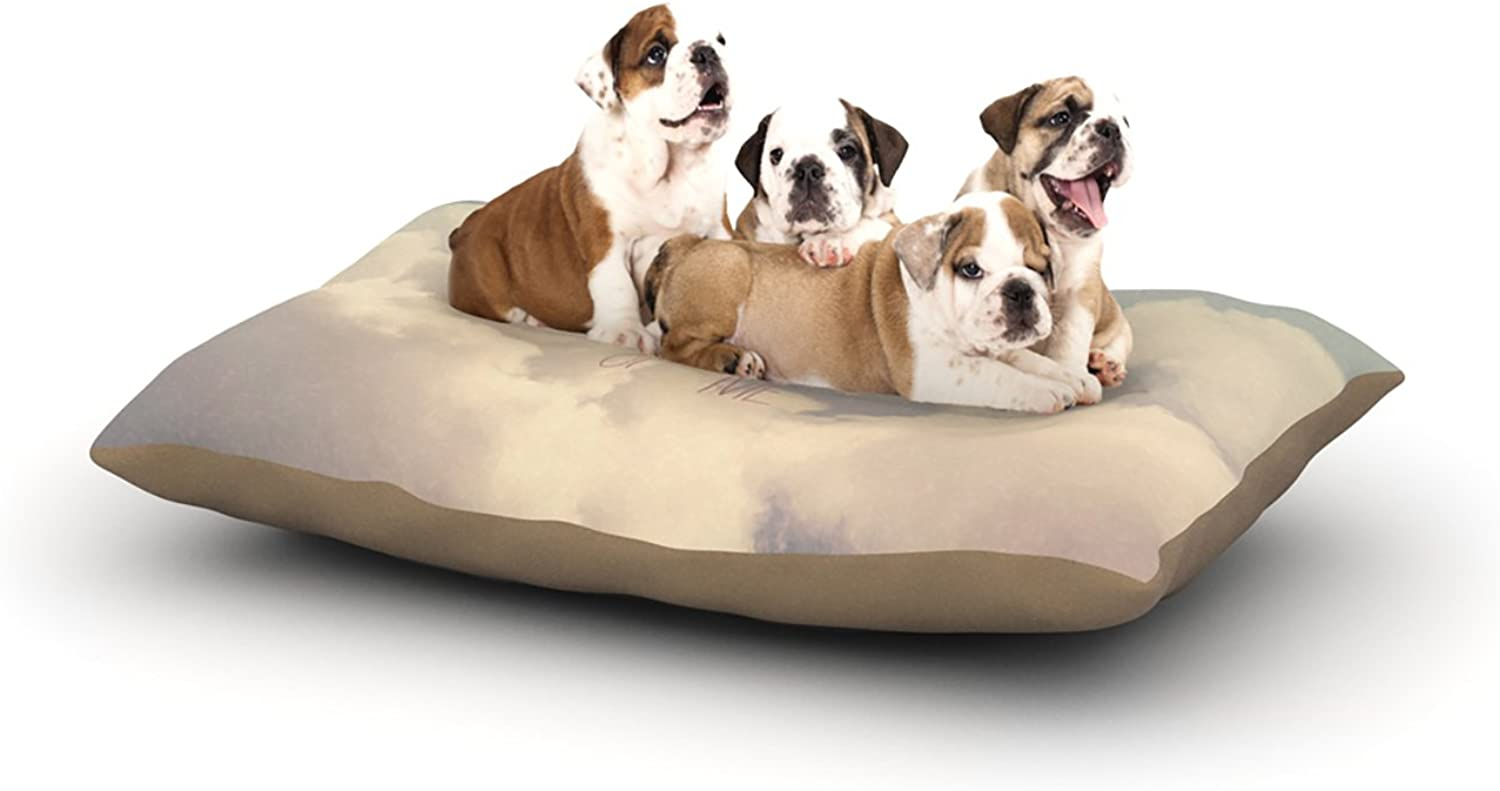 Kess InHouse Rachel Burbee Dream of Me  Tan White Dog Bed, 30 by 40Inch