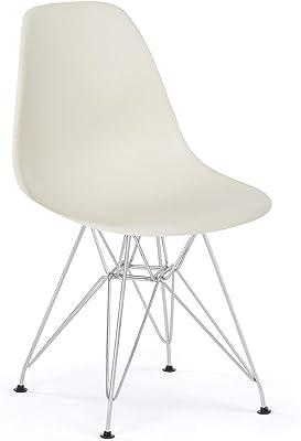 ST003 blanca - Silla metálica y asiento blanco estilo nórdico para comedor, cocina, dormitorio, balcón , terraza interior,habitación juvenil, dormitorio, hostelería. 1 unidad