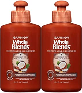Garnier Whole Blends Leave-In Conditioner for Hair, With Coconut Oil & Cocoa Butter Extracts. 10.2 Fl Oz (2 Count)