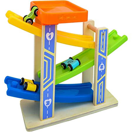 Toyshine 3 Ramps 3 Cars Race Track Car Set Toy, Multi-Color