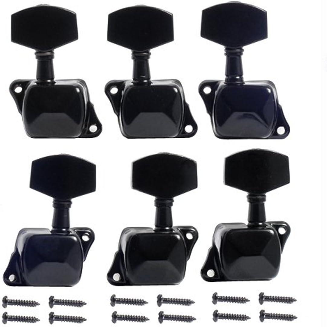 Musiclily 3+3 Estilo Semi Sellado Clavijas de afinación Clavijero de Repuesto para Guitarra Eléctrica/Acústica, Negro