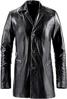 UZ Global Max Payne Mark Wahlberg Black Leather Trench Coat for Men - Mens Designer Coat