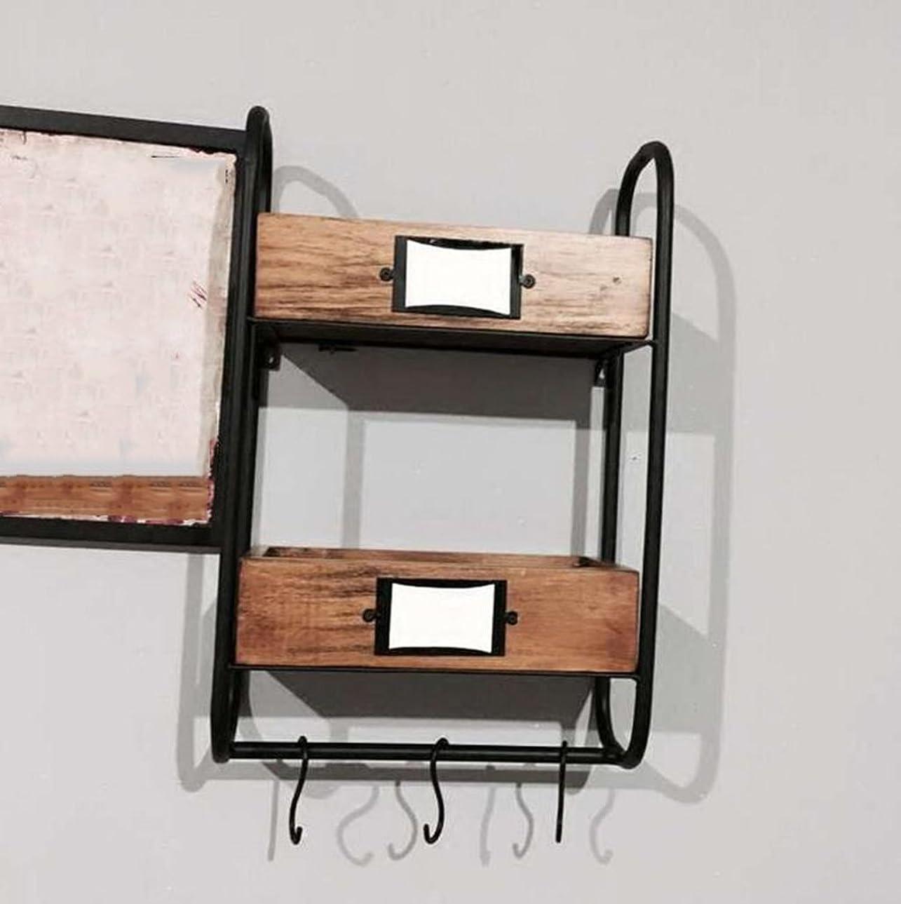対連帯胆嚢鉄の水パイプ棚の産業レトロソリッドウッドの壁のマウント古いファッションバスルームキャビネットを行う41 * 18 * 63センチメートル ウォールマウント (Color : #1)