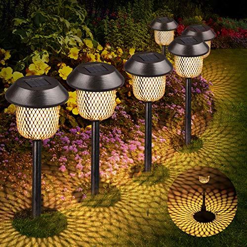 Lot de 6 lampes solaires de jardin, Tencoz lampes solaires de jardin en acier Lampe solaire d'extérieur Lampe solaire IP44 LED Décoration pour extérieur terrasse pelouse jardin