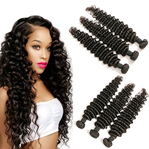 Brazilian Deep Curly Weave 3 Hair Bundles 300g 14 16 18 Inch Virgin Hair Extension Weave Natural Color