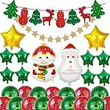 LLMZ Globos de Navidad 30 Pezzi Decoración Globos Kit Rojo Verde Globo de Látex Muñeco de Nieve Papá Noel Globo de Aluminio Decoracion Interior Exterior Patrón para Fiesta De Navidad