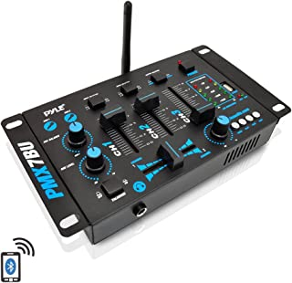 Wireless DJ Audio Mixer - 3 Channel Bluetooth Compatible DJ Controller Sound Mixer, Mic-Talkover, USB Reader, Dual RCA Phono/Line In, Microphone Input, Headphone Jack - Pyle PMX7BU.5