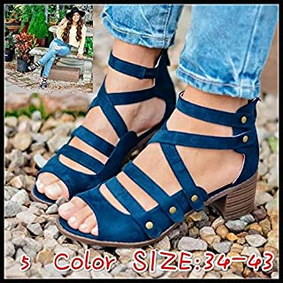 2019 Ladies Spring and Summer New Large Size Rivet Explosions Sandals Female Fish Mouth Sandals Women Casual Breathable Women Sandals(Blue,EU39(US8))