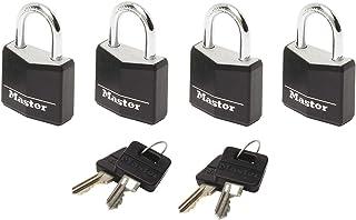 Master Lock 9120EURQBLK Pack of 4 Key Padlocks in Aluminium with Vinyl Cover, Black, 2 x 3,4 x 1,4 cm