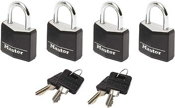 Master Lock Kleine hangsloten [Sleutels] [Met zelfde sleutel] [Zwart] [Gezinsverpakking van 4] 9120EURQBLKNOP - Voor Rugza...
