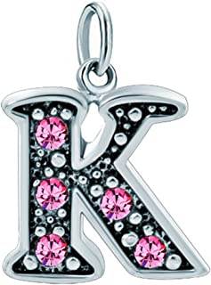 Alphabet Beads A-Z Letter Initial Spacer Dangle Pink Charm for Bracelets or Necklace