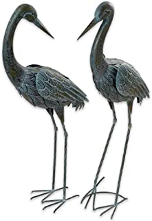 Bits and Pieces - Set of Two - Verdigris Garden Herons - Decorative Yard Art Accent for Outdoors Lawn and Patio Décor, Backyard Sculpture, and Decoration