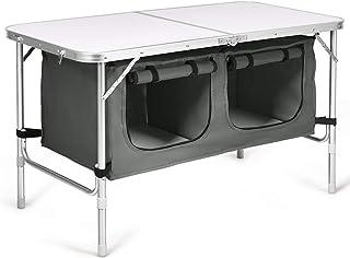 COSTWAY Mesa de Camping Mesa Plegable con Compatimientos Mesa para Picnic Interior Exterior (Gris)
