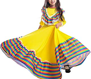 Girl's Traditional Cinco de Mayo Costume Long Dancing Dress Carnival Halloween Party Swingskirt