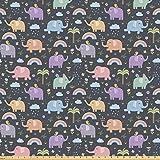 ABAKUHAUS Elefante Tela por Metro, Aves Elefantes coloridos, Tela Elastizada Estampada para Costura Arte y Bricolaje, 3 Metros, Multicolor