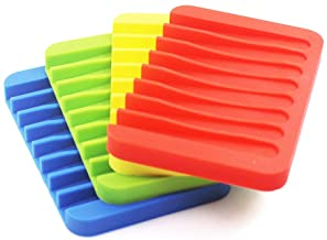 4 Pack Silicone Waterfall Soap Dish Saver Holder, SENHAI Colorful Soap Tray Drainer for Shower Bathroom Kitchen - Red, Gre...