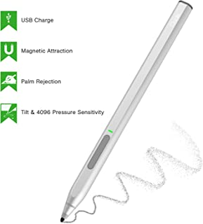 Surface Pen, Ciscle High-Efficiency Charge Surface Pro Pen with Max 4096 Levels of Pressure Sensitivity and Palm Rejection Function, Tilt, Magnetic Attachment Digital Pen for Surface Pro/Go-Silver