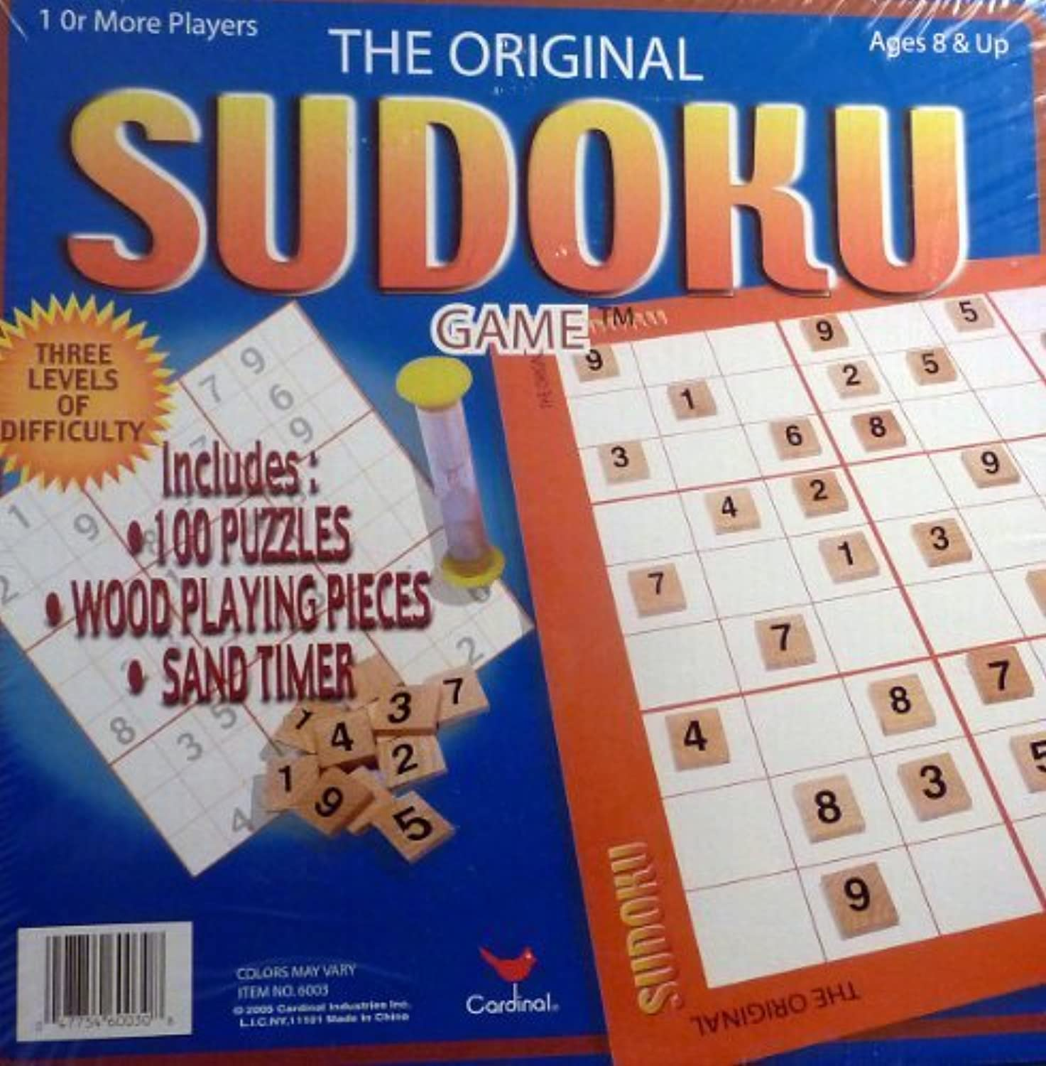 The Original Sudoku Game with 100 Puzzles & Wood Playing Pieces (2005) by Cardinal