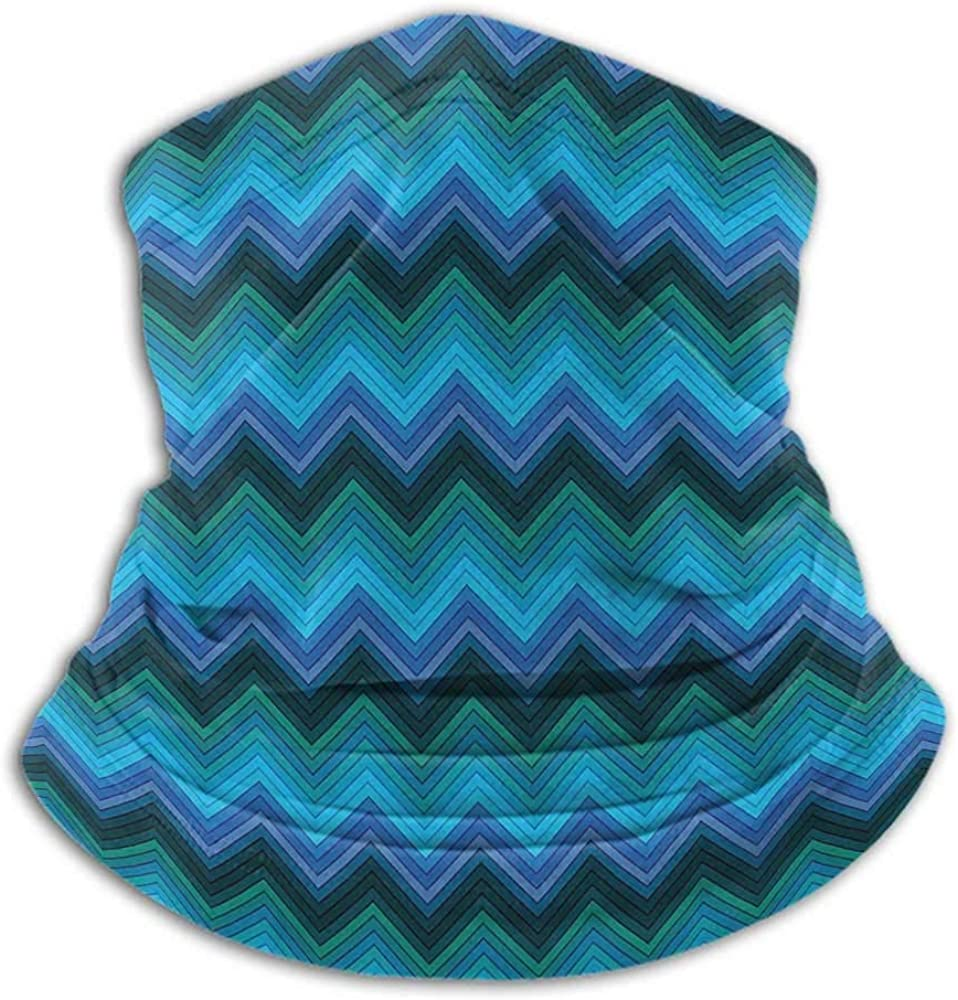 Neck Gaiter Teal Sun Protection Windproof, Fishing Running Cycling Horizontal Fashion Chevron Pattern in Aquatic Colors Thin Sharp Zigzag Lines Striped Multicolor