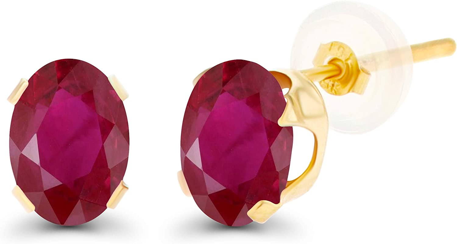 Solid 10K Yellow White or OFFicial shop Charlotte Mall Rose Genuine 7x5mm Creat Or Gold Oval