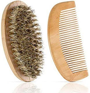 Wooden Beard and Comb Set for Men - Perfect for Beards Head Hair and Mustaches Men's Grooming Kit for Styling, Applying Be...