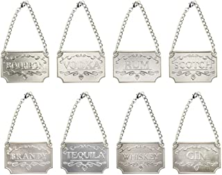 DIYARTS Wine Bottle Decanter Label Chain-Adjustable Luxury 8-Piece Liquor Decanter Tags for Whiskey Bourbon Scotch Gin Rum Vodka Tequila and Brandy (Silver)