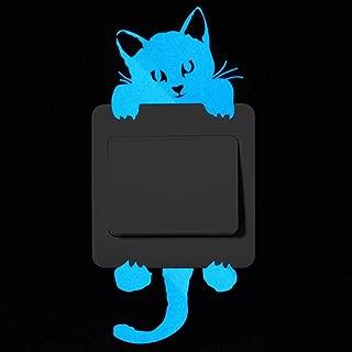 DEESEE(TM) New🌸DIY Cute Cat Luminous Wall Stickers🌸Cartoon Switch Luminous Sticker Fluorescent Wall Sticker Removable Sticker Wallpaper Party Room Magnetic Home Decor (A)