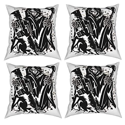 Jingliwang Sons of Anarchy - Paquete de 4 Fundas de cojín Decorativas para sofá, hogar, Coche, 12 x 12 Pulgadas