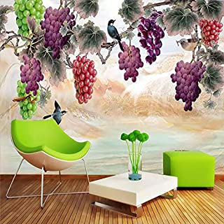TIANXINBZ Custom Mural Wallpaper 3D Hand painted Grape Branch Photo Wall Paper Living Room TV Sofa Background Wall Paintin...