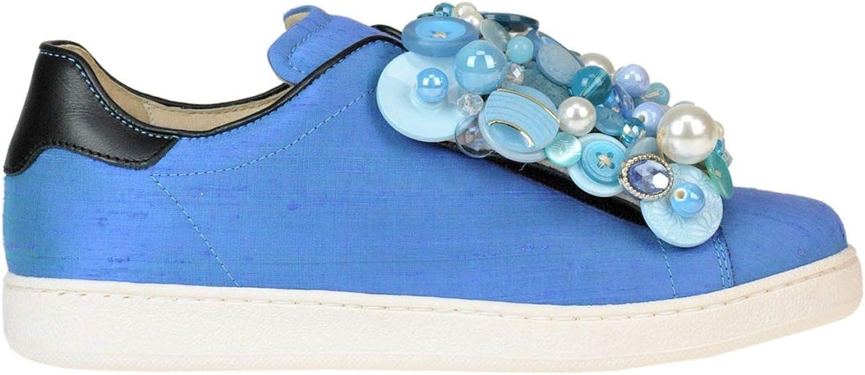 POKEMAOKE Women's MCGLCAK000005155E bluee Leather Slip On Sneakers
