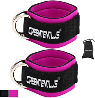 Greententljs Gym Ankle Straps for Cable Machines - Fitness Padded Ankle Cuffs Strap Attachment Workout for Glute Exercises with Carry Bag