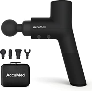 AccuMed Muscle Gun Massager - Super Quiet Back Massager Percussion Massager - Handheld Cordless Massager - Includes 4 Interchangeable Massage Heads and Travel Case (AC-GM8806)
