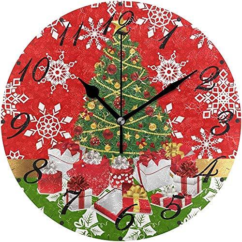L.Fenn Grote decoratieve diameter wandklok ronde Silent Frohe Kerstmis boom sneeuwvlok winter Red Poinsettia