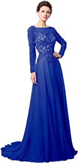 Belle House Women's Long Sleeve Formal Evening Gown Beaded Prom Dress HLX051