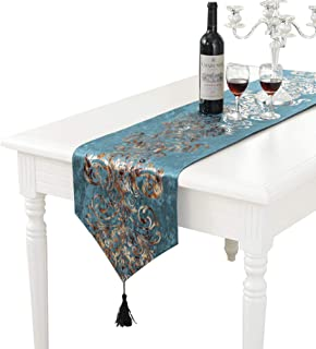 PHNAM Floral Suede Table Runner and 4 Pieces Placemats Set with Pendant Tassel Modern Jacquard Elegant Classic for Kitchen Coffee Dining Home Décor Multi-Size (Blue Set, 13 x 72 inch)