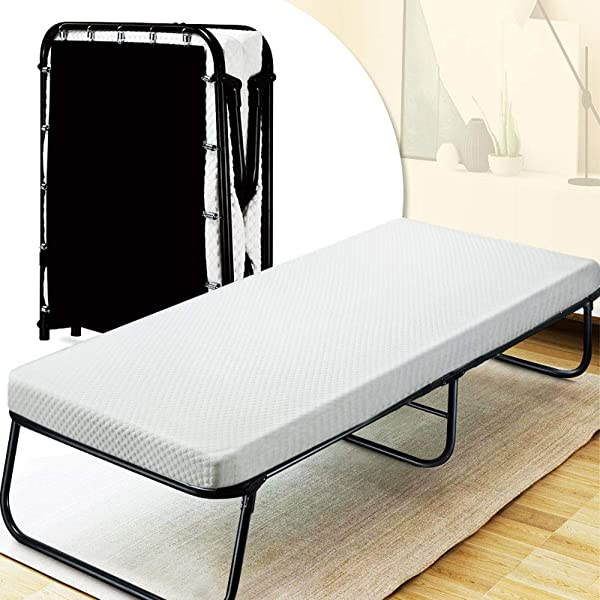 Quictent Heavy Duty Folding Bed With Two Extra Support Belts 300 Lbs Max Weight Capacity Guest Bed Daybed With 3D Stretch Knit Material Cover Mattress And Storage Bag