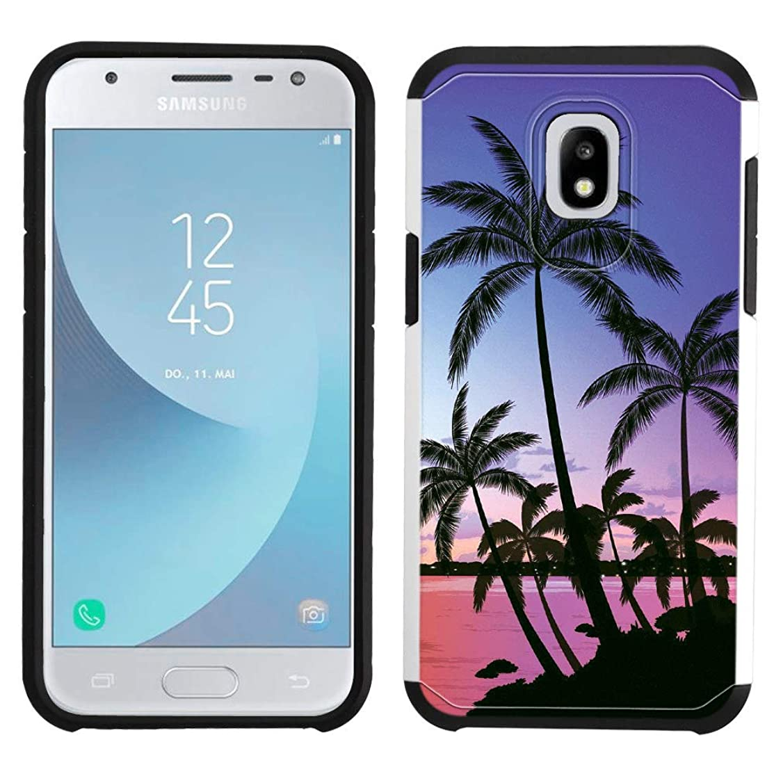 Galaxy J7 2018 Case [Sunset Sea](Silver) PaletteShield Hybrid Armor Skin Phone Cover (fit Samsung Galaxy J7 2018/ J7v/ Star/Refine)