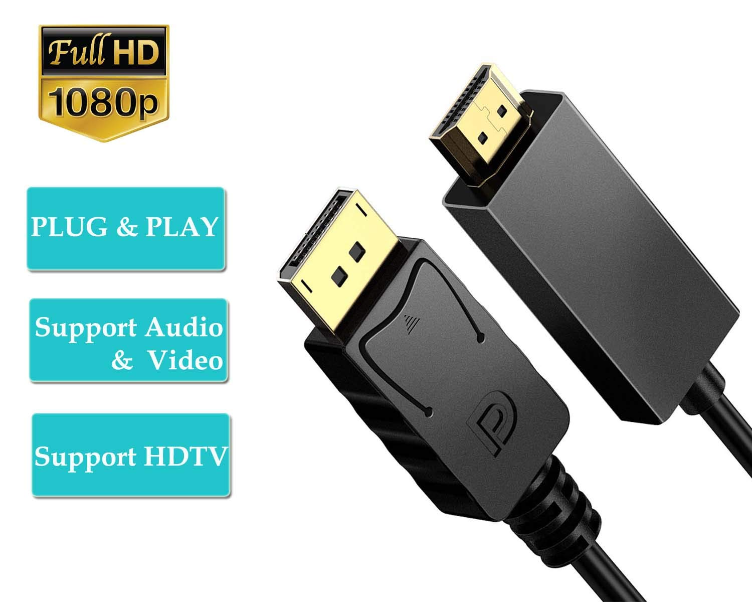 Dell HP Benfei Gold-Plated 4K DP to HDMI Cable Compatible for Lenovo Displayport to HDMI Cable 0.9 Meter ASUS
