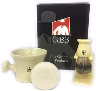 GBS Premium Men's Wet Grooming Shaving Set Gift Boxed Ceramic Ivory Shaving Soap Bowl Mug with Knob Handle Pure Badger Hairbrush and Stand with Natural Shave Soap Compliments Your Razor Great Gift