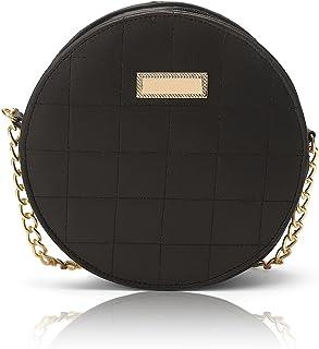 GLOWIC Women's Round Sling Bag(BLACK)(WBAG-09)