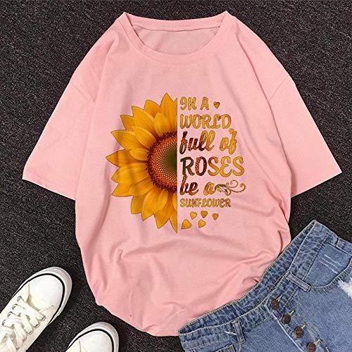 T-Shirt Femme Tshirt New Summer O-Neck Manches Courtes Mignon Cartoon T-Shirt Femmes M 11462-Rose
