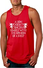 Allntrends Men's Tank Top Lion Doesn't Concern Himself with Opinion Sheep